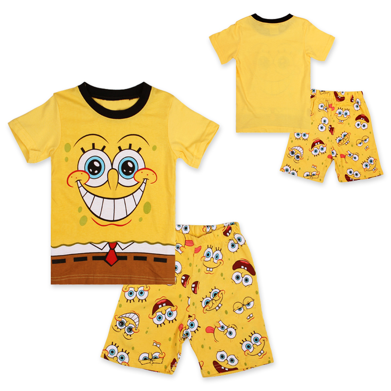 6f4bf6424 children boys clothing set Adorable Cartoon Spongebob pajamas ...