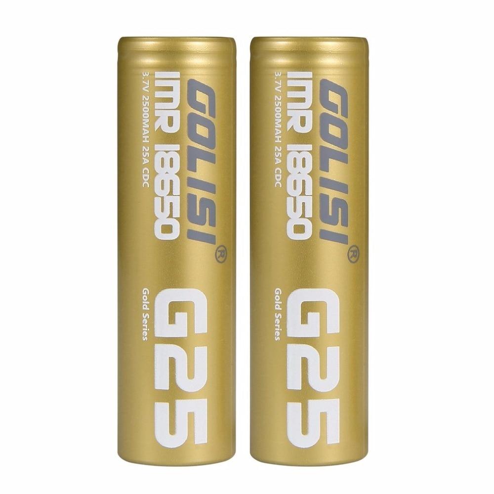 GOLISI Original 3.7V 25A 2500mAh Li-ion 18650 Rechargeable Batteries High Drain for E-cig Mods/ Flash Lights / Toys Dropshipping