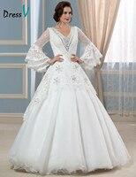 Luxury Real Photo Muslim Lace Wedding Dresses Vintage Euro Style V Neck Dazzling Bead Top Elegant