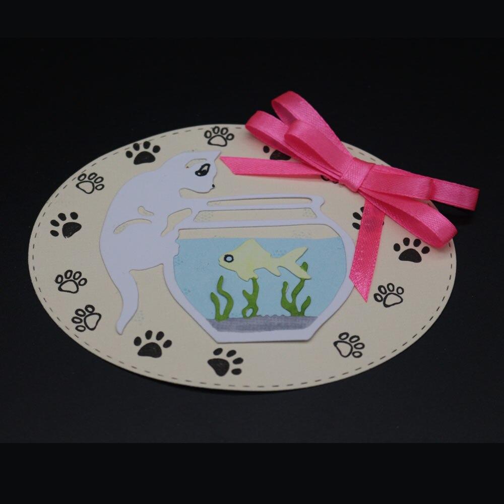 Metal Dies Cutting Cat Love Tank Fish Dcorative Embossing Scrapbooking Craft Dies Cuts Stamp Paper Card Stencil Photo Album