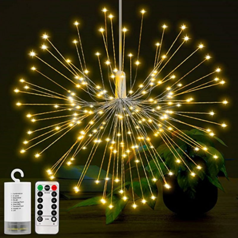 Fireworks Christmas Lights Hanging Starburst String Light 200LED DIY Copper Wire Fairy Garland Wedding Party Home Decor 200 leds diy hanging starburst string light solar powered firework copper fairy garland christmas wedding twinkle lights ca79