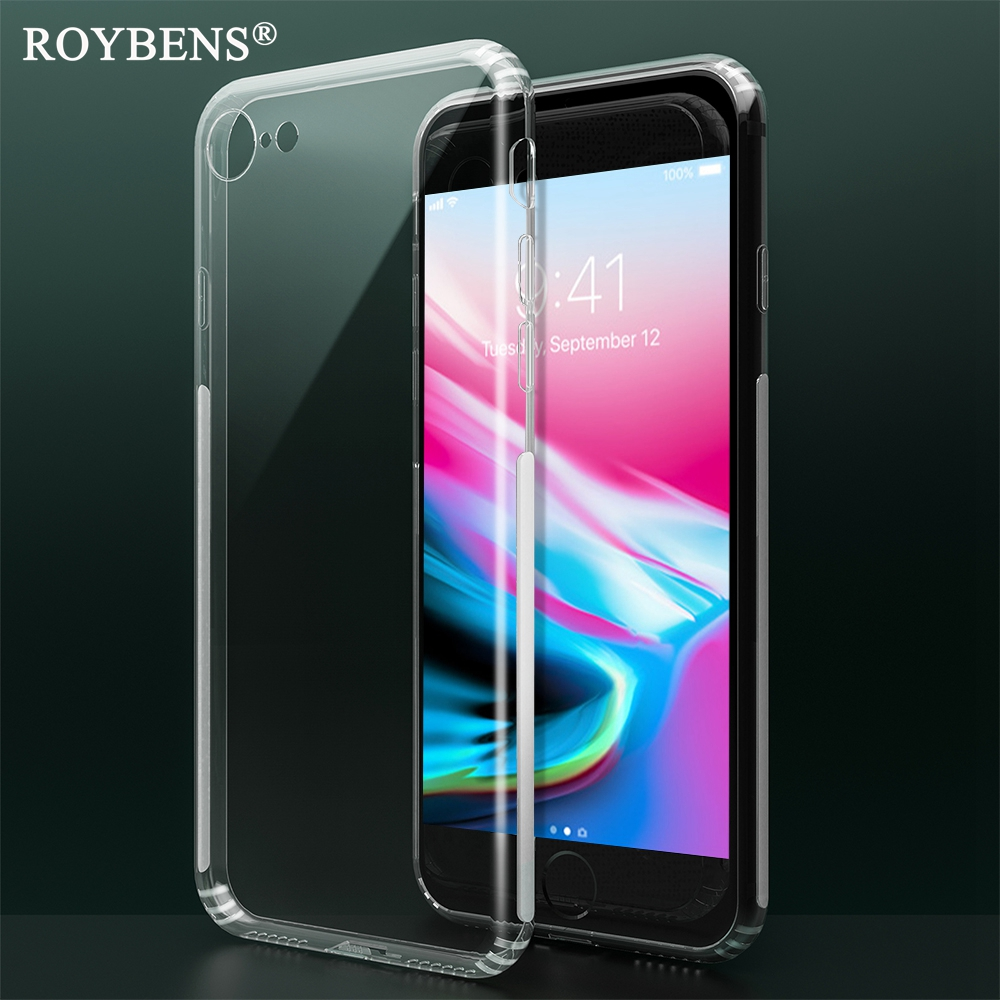 Roybens For iPhone 8 Plus iPhone 7 Case Fashion Clear Thin Soft TPU Silicone Cover For iPhone7 4.7 5.5 inch Mat Anti-skid Edge