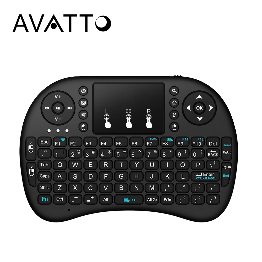 [AVATTO] Russian,Hebrew,English Original i8 Mini Keyboard 2.4G Wireless Touchpad Air Mouse for PC,Smart TV,Android Box,Xbox 360