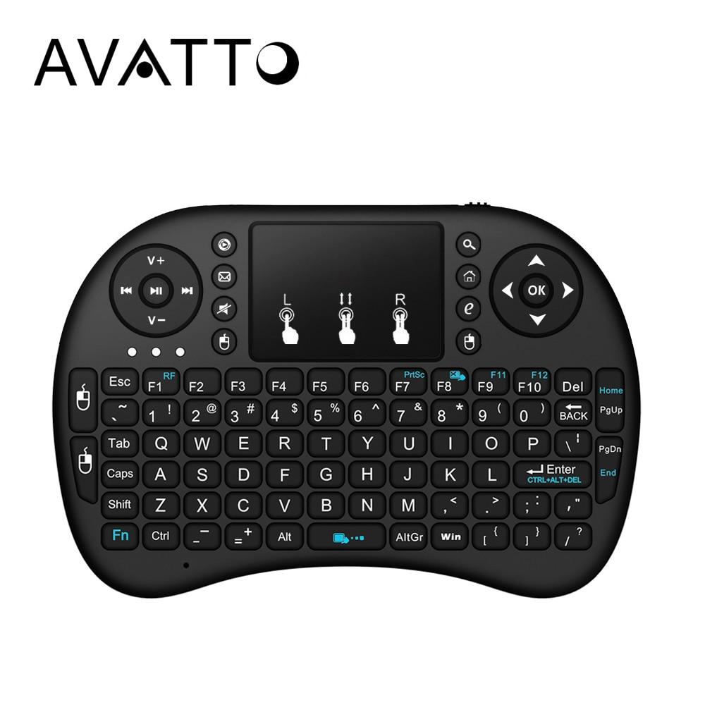 [AVATTO] ruso hebreo. original inglés i8 Mini teclado 2,4G inalámbrico Touchpad Air ratón para PC Smart TV Android caja xbox 360