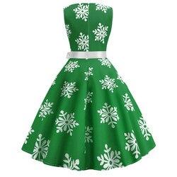Enyuever w stylu Vintage Sukienka boże narodzenie Sukienka zielony Jurk Kerst Snowflake Print Vestidos Navidad Mujer Pin Up, na co dzień, na co dzień, boże narodzenie Sukienka 2