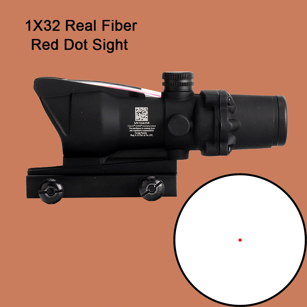 ohhunt Hunting Scope 1X32 Tactical Red Dot Sight Real Green Fiber Optic Riflescope with Picatinny Rail for M16 Rifle tactical riflescope acog type 1x32 red green dot rifle sight scope with 22mm mount airsoft wqm132