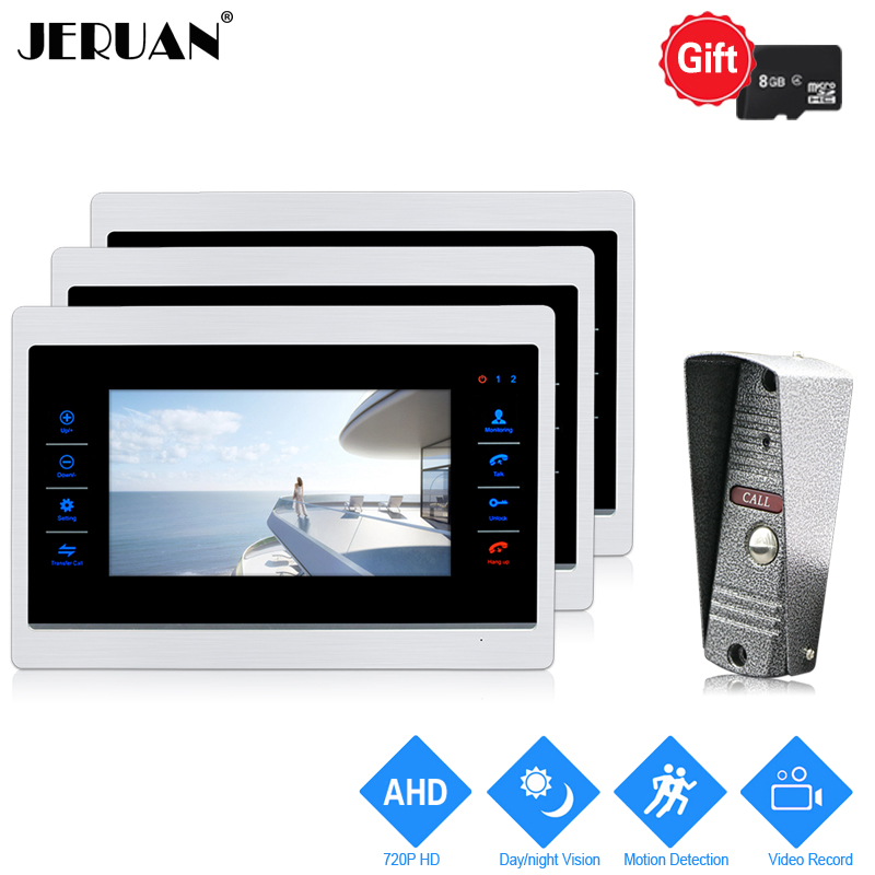JERUAN 720P AHD Motion Detection 7 INCH Video Doorbell Door Phone Unlock Intercom System 3 Record Monitor +HD IR Mini Camera 1V3 jeruan 720p ahd motion detection 7 touch screen video door phone doorbell intercom system 2 record monitor hd ir mini camera