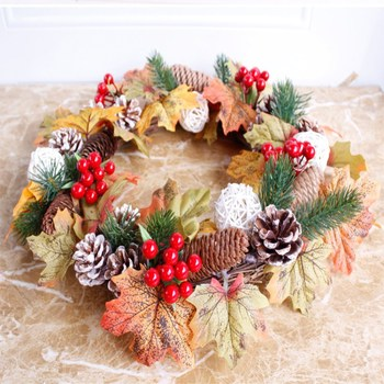 Thanksgiving and Christmas leaf pine wreath door decorations hang handmade DIY home  Free Shipping