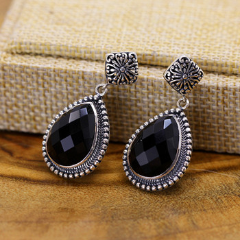 Natural Agate 100% 925 Sterling Silver Drop Earrings For Women Exquisite cutting Gemstone Water Drop Earrings Birthday Gift