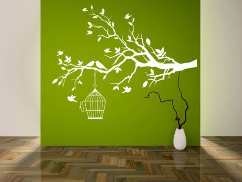 Tree branch with leaves bird cage wall decals home - Photo decoration on wall ...