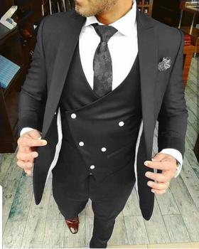 Fashionable One Button Black Groom Tuxedos Groomsmen Peak Lapel Mens Suits Blazers (Jacket+Pants+Vest+Tie) W:999