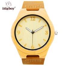 Banda de Cuero Relojes De Madera de Estilo Chino De Bambú Protable iBigboy IB-1600Cd Japón Movimiento de Cuarzo Reloj de Regalo de Navidad