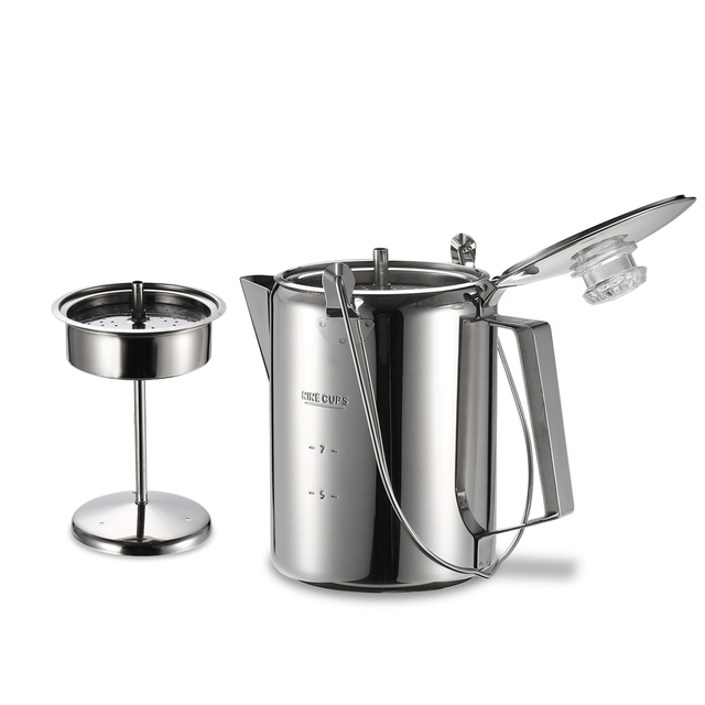 Outdoor 9 Cup Coffee Pot Stainless Steel Maker Tableware Set Hiking Picnic Backng Camping