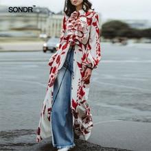 Spring 2019 high street wind print shirt dress fashion slit lantern sleeve flounces long for women