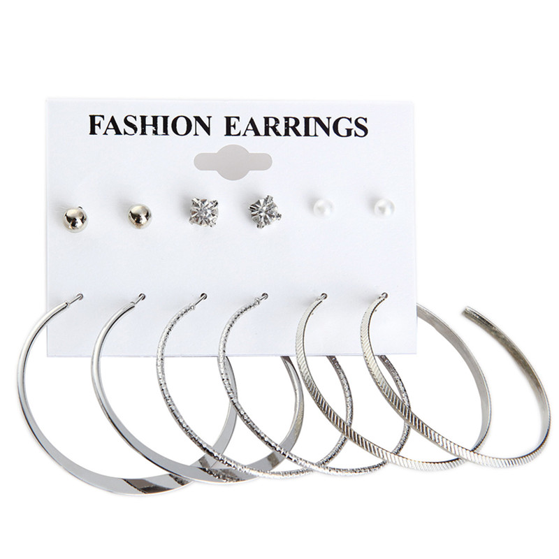 Fashion Punk Crystal Stud Earrings For Women Men Vintage Simulated Pearl Clip Gift Gold Color Cuff Earring 6 Pairs/Set e031