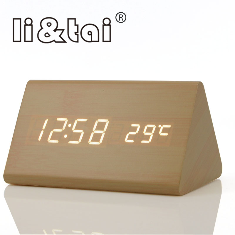 Electronic Desktop Digital Wooden LED USB Alarm Clock Sounds Control Temperature