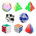 8pcs/Set Shengshou Black Strange-shape Magic Cube Set Speed Twist Puzzle Bundle Pack Cube PVC&Matte Stickers Cubo Magic Puzzle