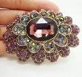 Vintage lujo púrpura flor oro plateó la broche del Pin del cristal del Rhinestone broche mujer
