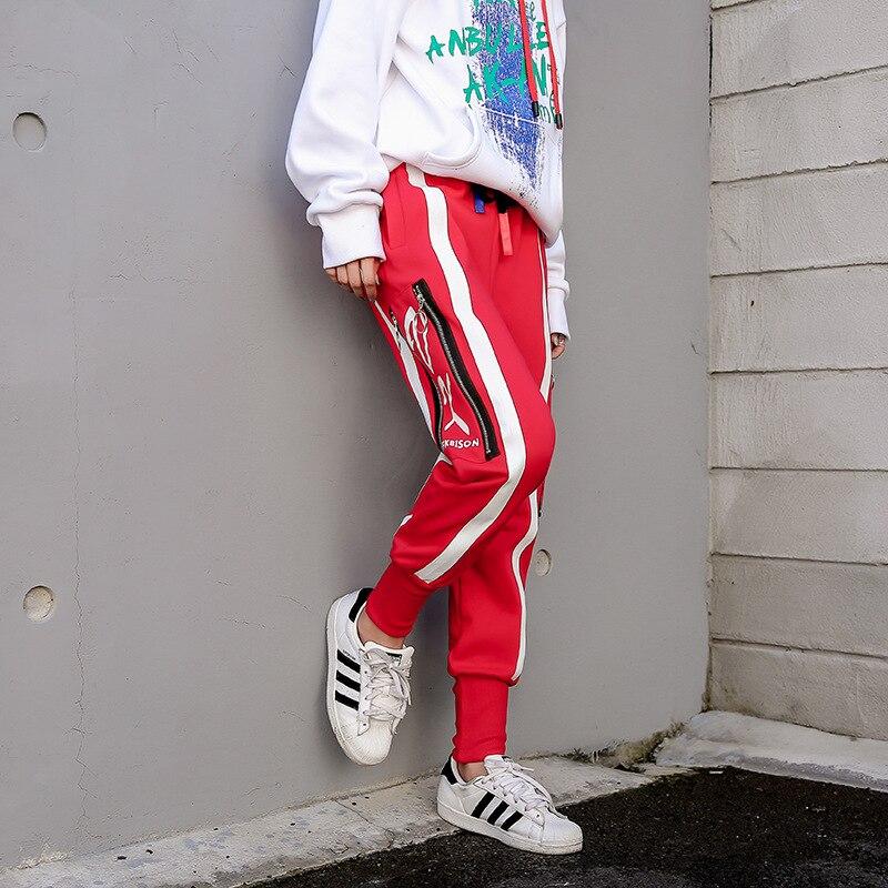 Donna Primavera Inverno del Cotone Della Rappezzatura Matita Pantaloni Zipper Stile Europeo Cuciture Pantalone Nero Rosso Plus Size S-XXXL