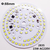 50pcs /lot 15w led Lamp plate AC220v Directly SMD2835 88mm Driverless pcb warm white/nature white/pure white free shipping