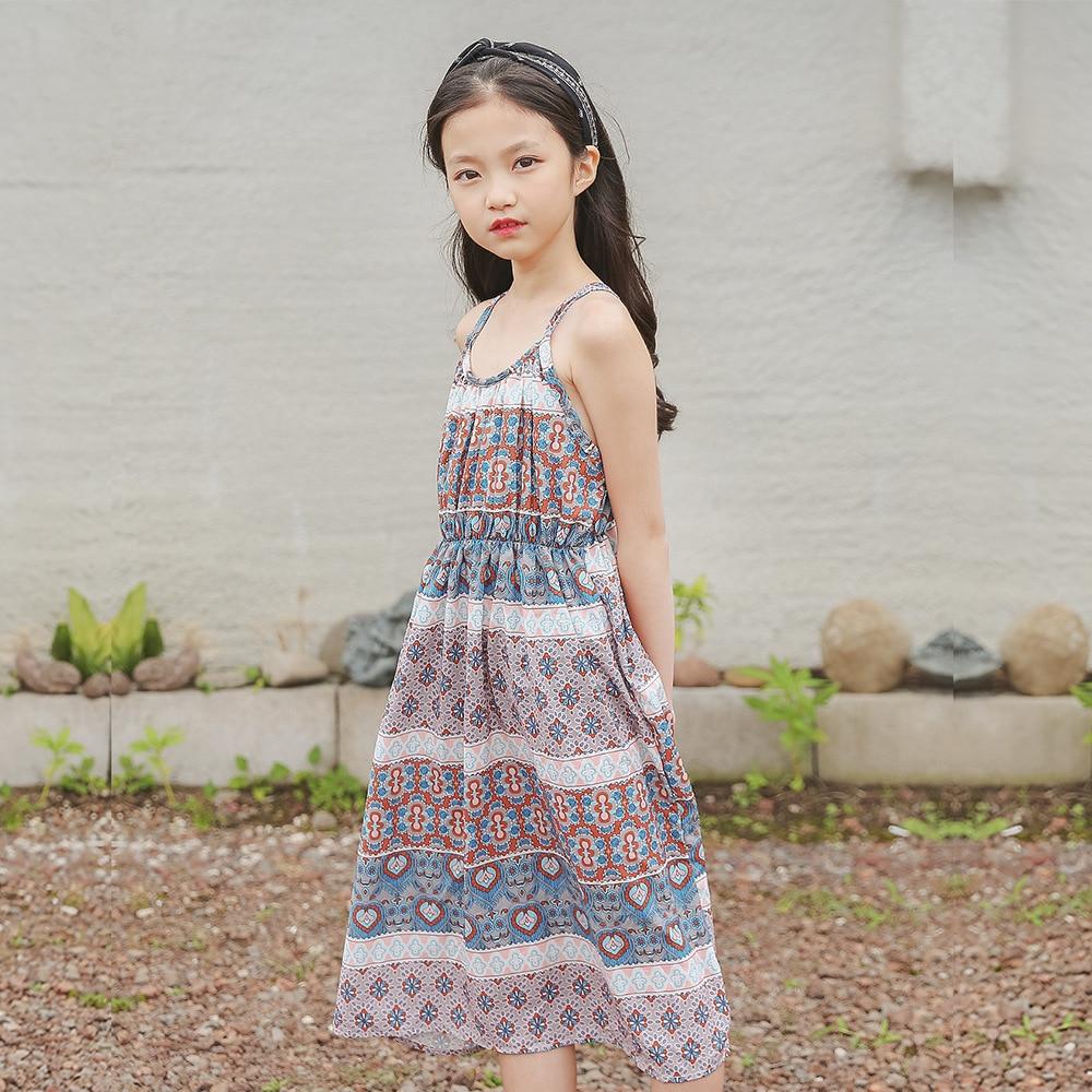 Kids Infant Baby Girl Floral Strap Backless Princess Maxi Dresses Beach Sundress