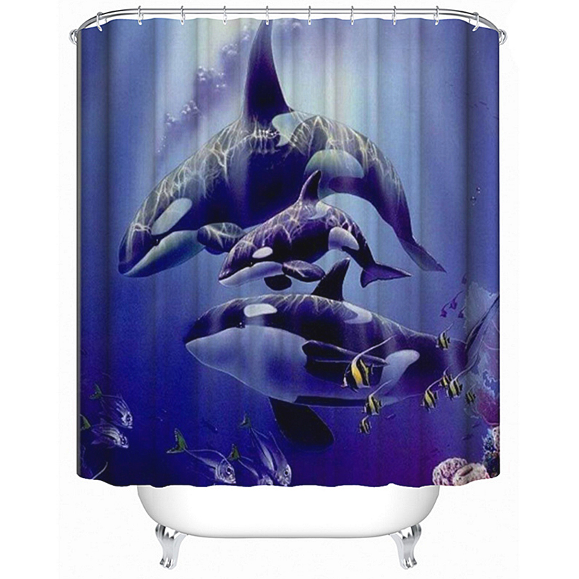 3d Dolphin Sunshine Shower Curtain Waterproof Fiber Bathroom Home Windows Toilet Home & Garden Curtains, Drapes & Valances