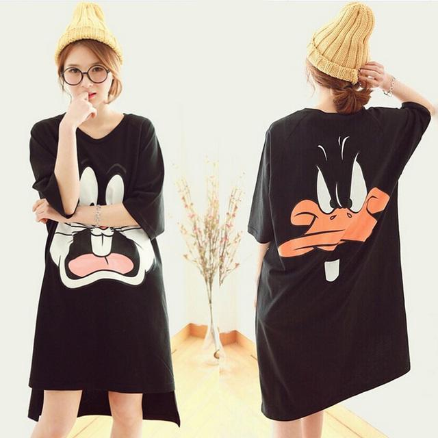 Moda Feminina Algodão Nightgowns Vestido Casa de Verão Dos Desenhos Animados Pijamas Camisola Solta Confortável Sleepshirts para as mulheres meninas