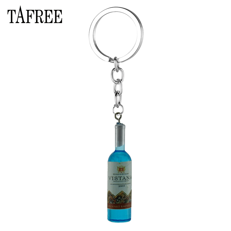 TAFREE Simulation Wine Bottle Pendant Keychain Car Keyring For Bag Key Chain Holder Gift Wholesale Jewelry 2018