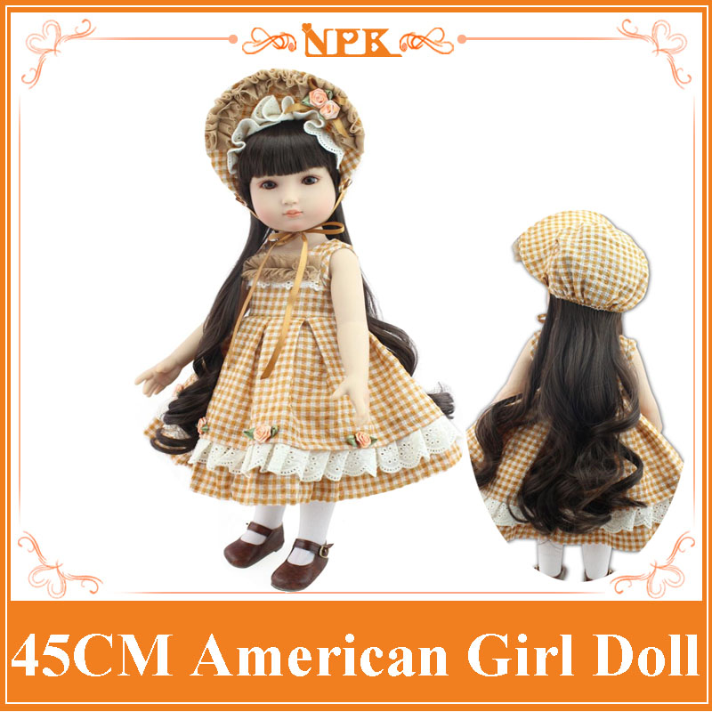 Popular 18inch American Girl Doll With Long Curl Hair In Plaid Dress Lifelike Reborn Baby  Dolls Boneca Bebe Little Girl Toys new arrival 18inch doll npk american sweet girl with curly long hair in floral skirt dress bonecas bebe kids gift brinquedos