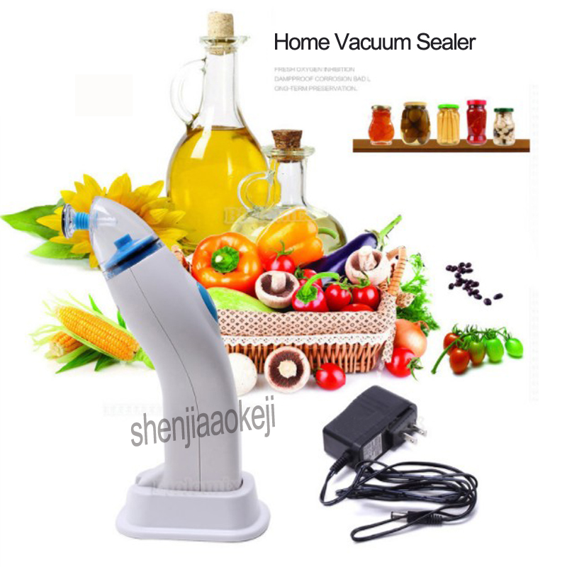 Portable Food Electric Vacuum Sealing Machine Household Handheld Auto Vacuum Sealer With 5pcs Bags Powered By Adapter