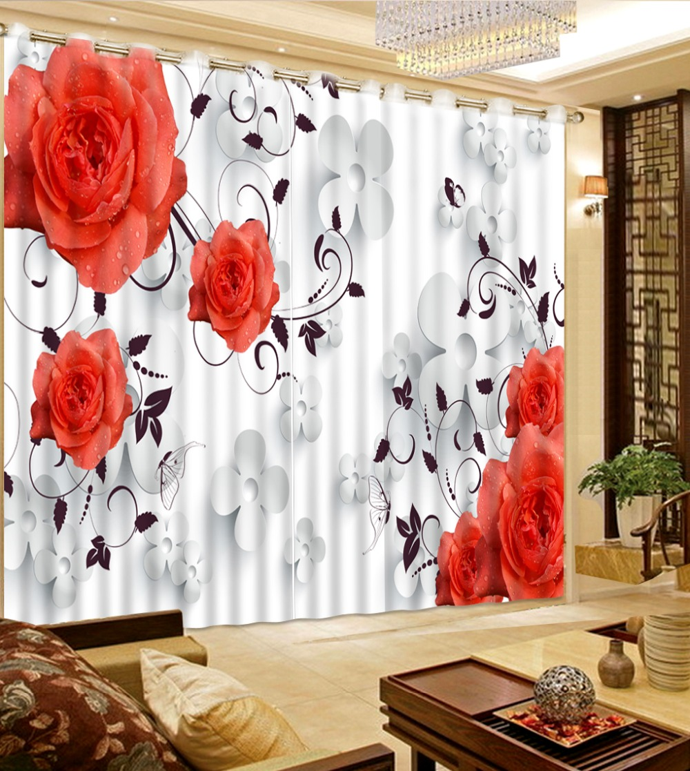 home bedroom decoration curtains for bedroom white flowers red flowers bed room living room office hotel curtain customize size
