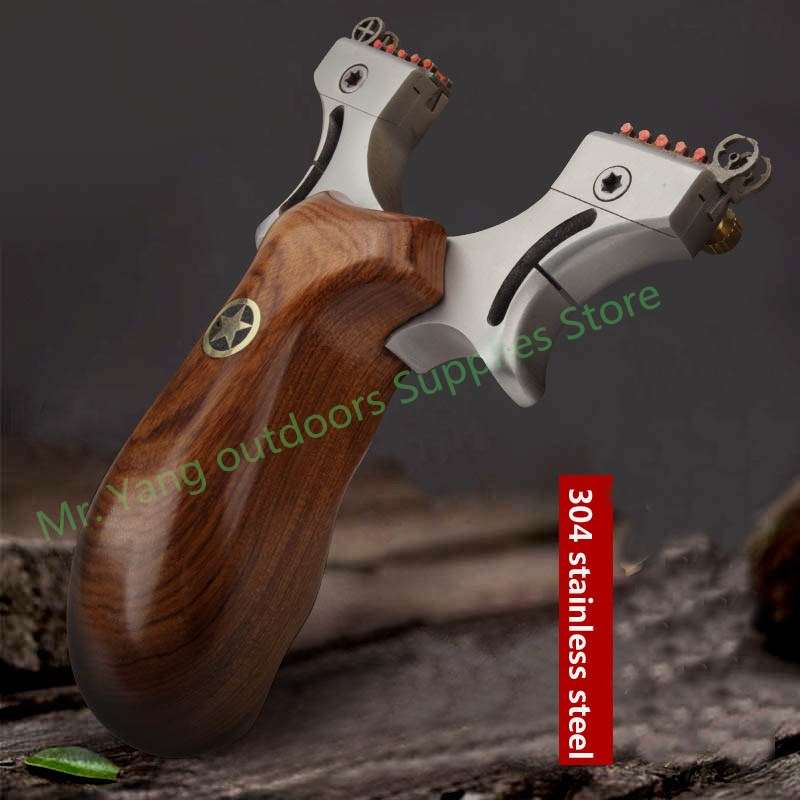High Quality New Design Wood + Stainless Steel Slingshot Flat Rubber Band Multi-Aiming Adjustable For Hunting Shooting Catapult high quality powerful eagle head slingshot flashlight 304 stainless steel wood slingshot handle beautiful rubber band hunting
