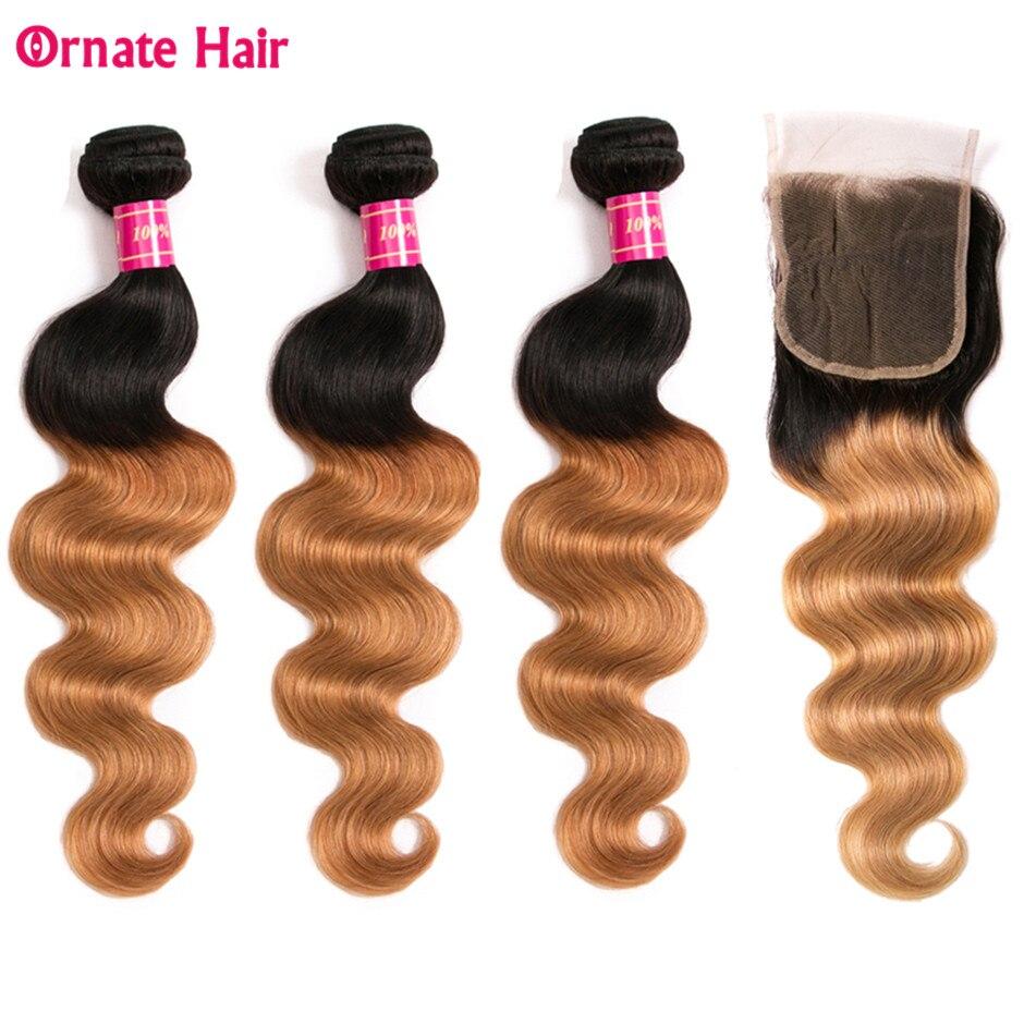 1b 27 Ombre Blonde Bundles With Closure Brazilian Hair Weave Bundles 3 Bundles Body Wave With