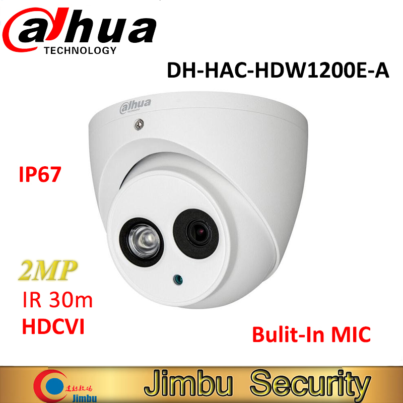 Original Dahua HDCVI Camera DH-HAC-HDW1200E-A 2MP HD1080P IR30m built-in MIC IP67 CCTV Security Dome Camera HAC-HDW1200E-A