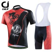 Cheji Brand 2016 Dark Gear Cycling Jerseys Set Bike Clothing Black Red