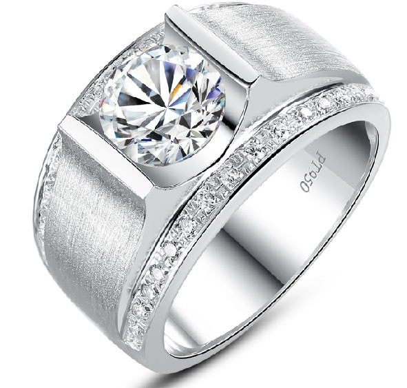 aliexpresscom buy 1ct round male mens solid 18k 750 white gold ring with wide band great high cost customize white gold au750 fine ring from reliable - Wide Band Wedding Rings