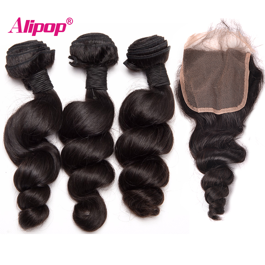 Loose Wave 3 Bundles With Closure Human Hair Bundles With Closure Brazilian Hair Weave Bundles ALIPOP