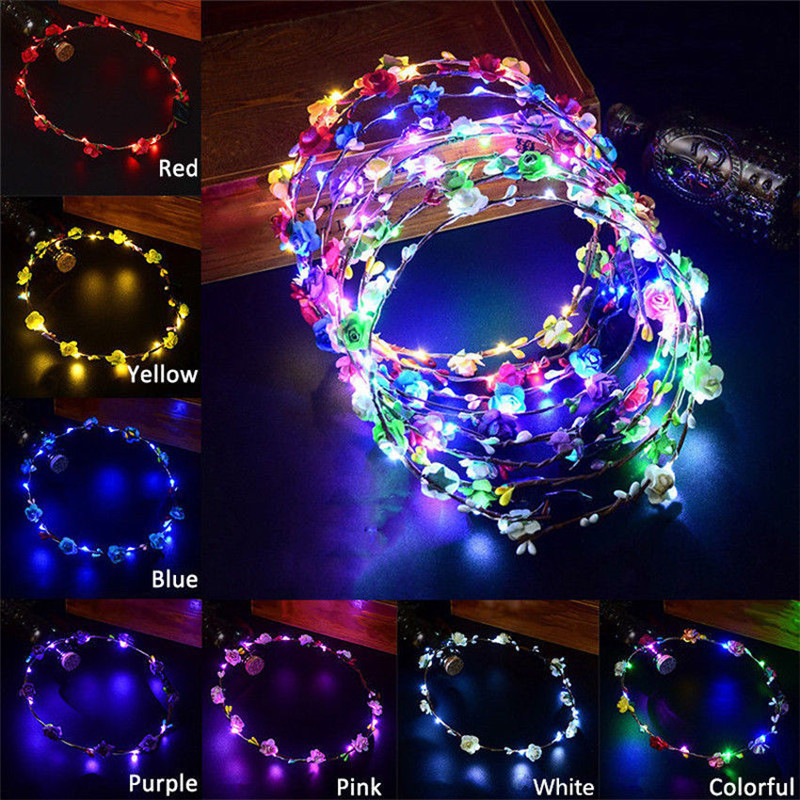 5pcs/lot Wedding Xmas Party Women Lady LED Light Up Flower Headband Hair Wreath Garland 8 Colors