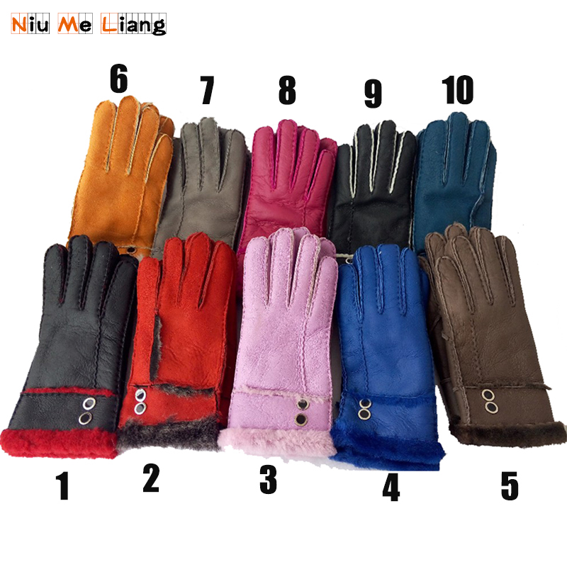 Women Winter Leather Gloves Genuine leather Female gloves Sheepskin Wool Solid Sheep Fur Mittens Elegant Warm Female Glove G30