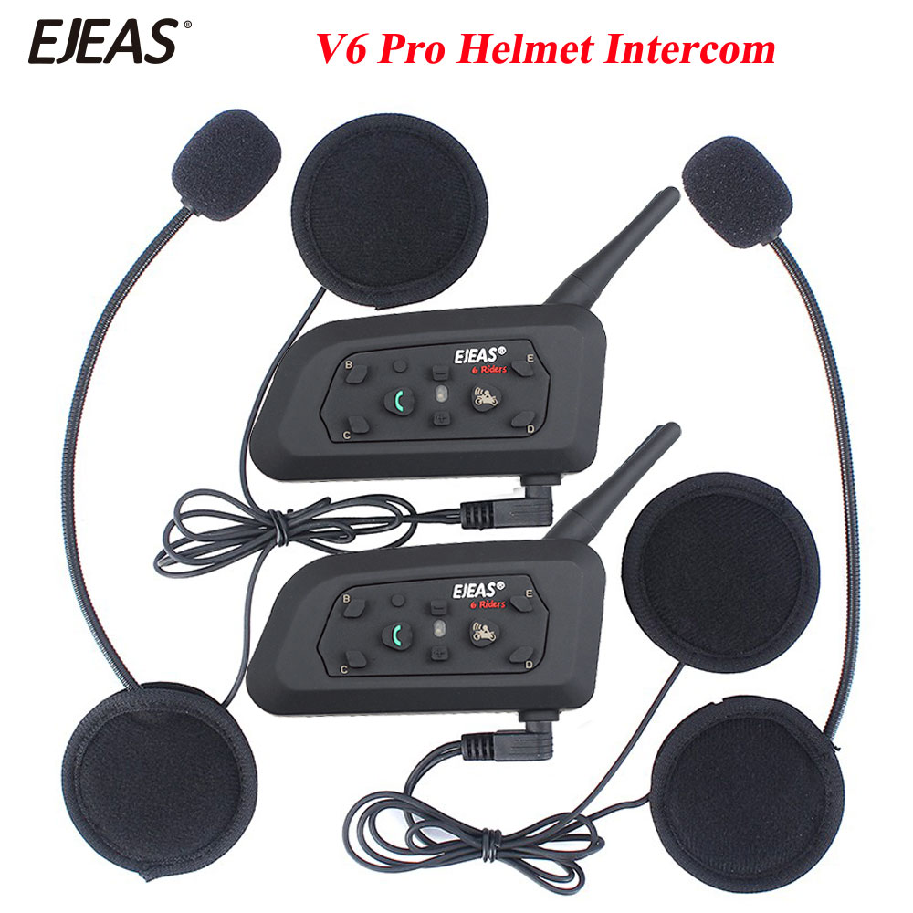 EJEAS 2Pcs 1200M V6 Pro BT Interphone Motorcycle Bluetooth Headset Wireless Intercom BT Multi Interphone 2Pcs