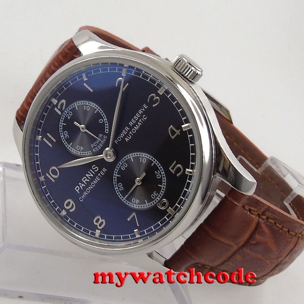 43mm parnis black dial automatic mens watch power reserve ST 2542 watch цена