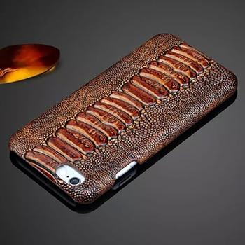LANGSIDI Genuine leather phone case for iPhone x xr xs max 8plus 8 7 7plus 6 6s plus 11 pro max 12 mini 12 Ostrich Luxury cover