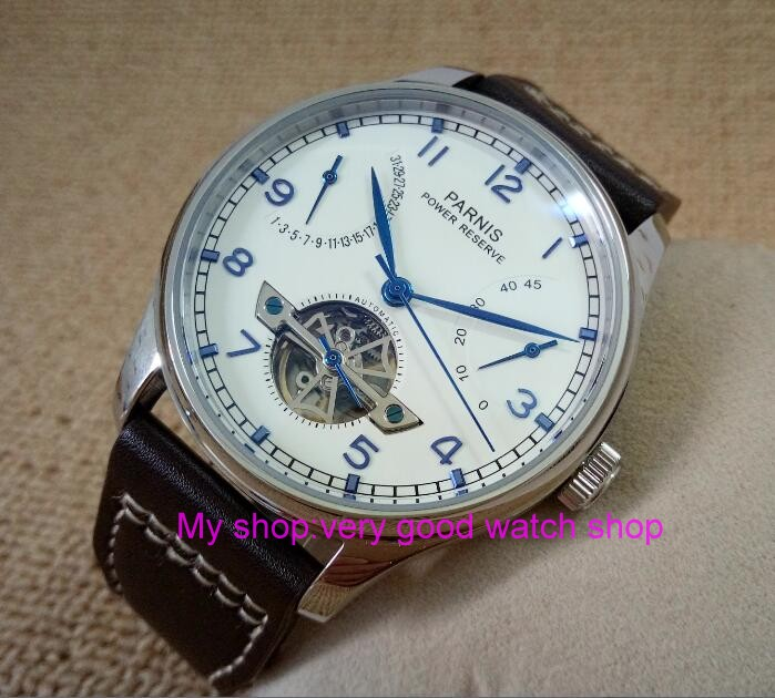 43MM PARNIS ST2505 Automatic Self-Wind movement white dial power reserve men's watch Mechanical watches 236 43mm parnis st2530 automatic self wind movement white dial power reserve men s watch mechanical watches gq8