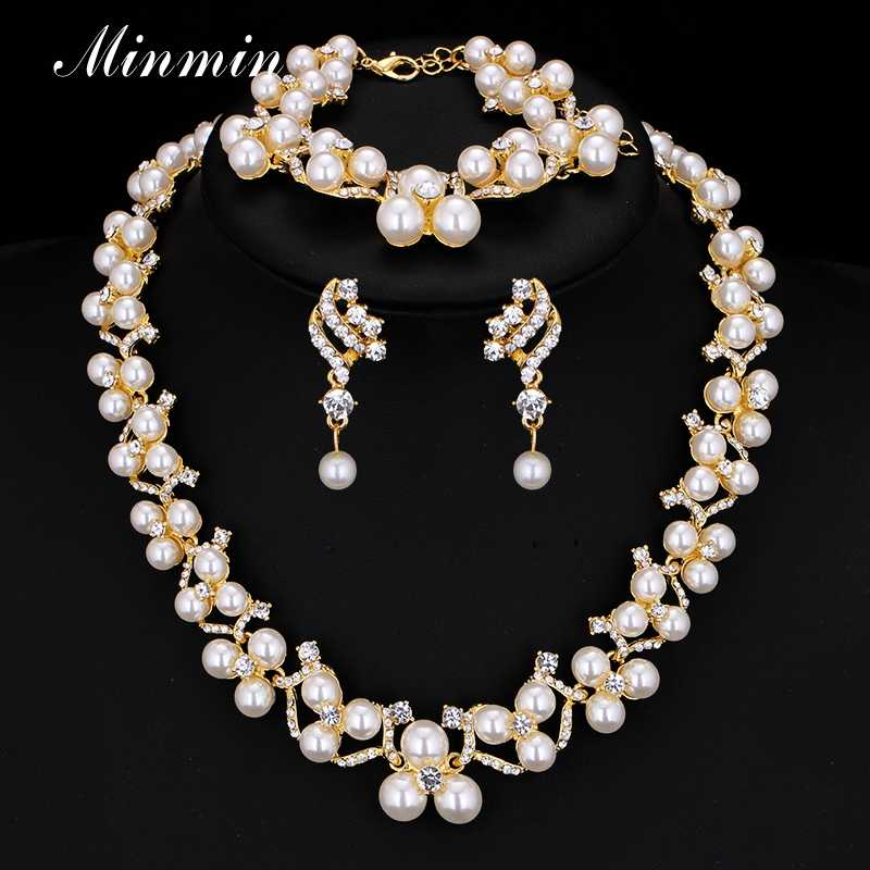 Minmin Crystal Simulated Pearl Bridal Jewelry Sets Gold-color Wedding Necklace Earrings Bracelets Sets Mtl472+MSL246