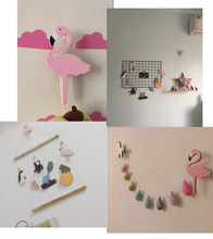 Ins Wooden Kids Room Clothes Hook Wall Decorative Sticker Flamingo/Swan Unicorn Cross Rabbit Shape Hanger Hook Home Decoration(China)