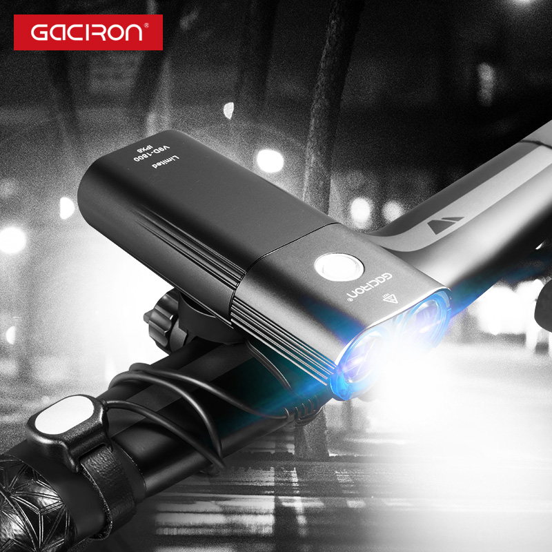 Gaciron 1800 Lumen Bicycle Lights Bike 6700mAh Power Bank Rechargeable MTB Road Bike Headlight 2*LED Light Waterproof Flashlight