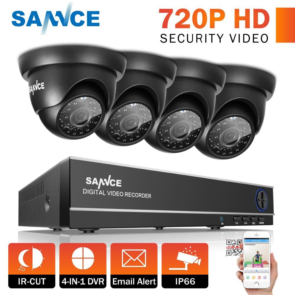SANNCE 8CH 1080P HDMI DVR CCTV System 4pcs 720P Security Cameras IR Indoor Waterproof Outdoor Video Surveillance CCTV Kit цена