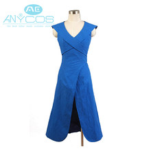 Juego de tronos Daenerys Targaryen vestido de lino azul uniforme partido  Halloween Cosplay trajes para las mujeres completo Sets f07eff9aefa7