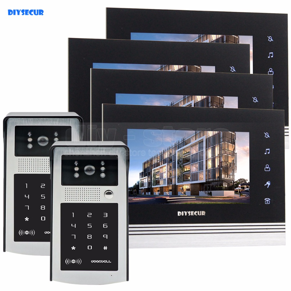 DIYSECUR 7 inch Touch Button Video Door Phone Intercom Doorbell IR Night Vision HD 300000 Pixels RFID Keypad Camera 2V4 diysecur 1024 x 600 7 inch hd tft lcd monitor video door phone video intercom doorbell 300000 pixels night vision camera rfid