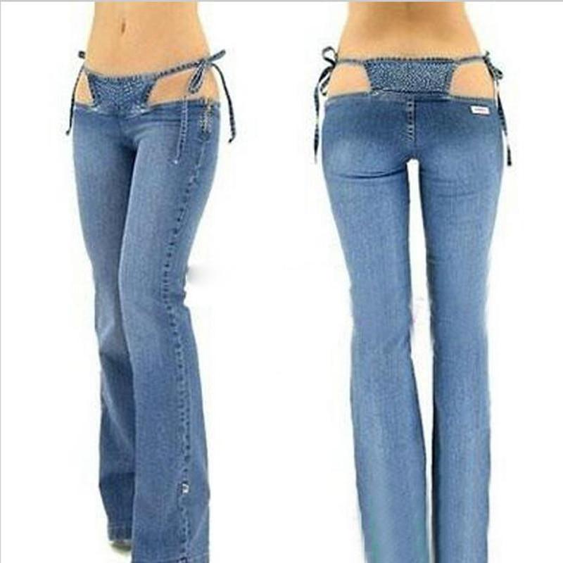 2017 New Women Bikini Jeans Trousers Pants Denim Ultra Low Rise Flared Sexy Blue Fashion TC019 боксмод sigelei fuchai 213w tc blue силик чехол